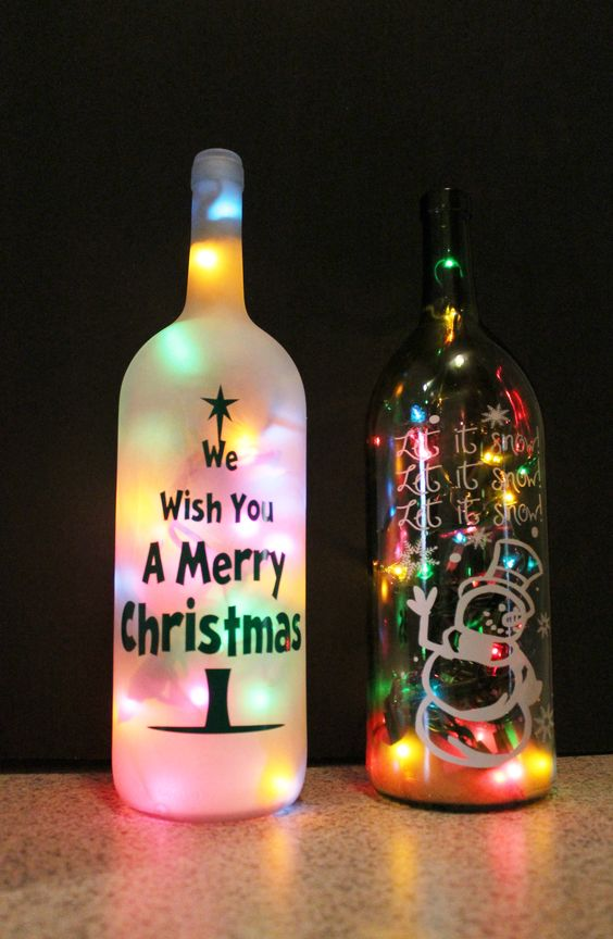 17 sparkling indoor christmas lighting ideas for Wine bottle decoration with lights