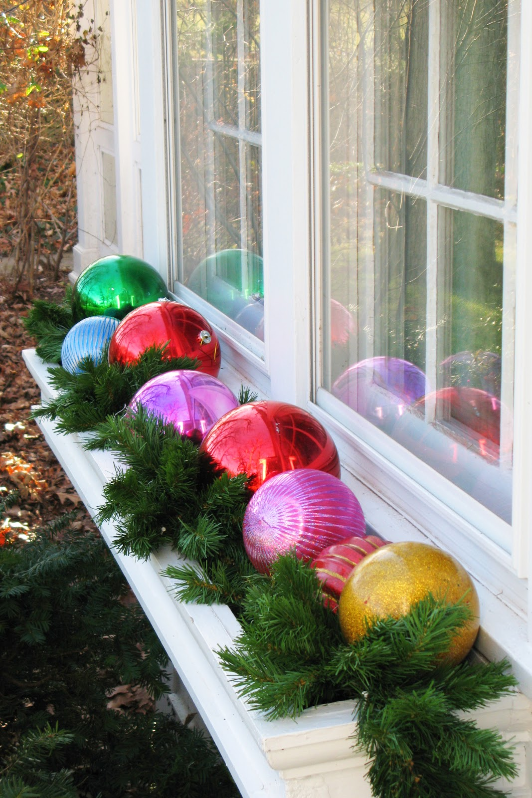 Giant outdoor lighted ornaments - Window Box Full Of Ornaments