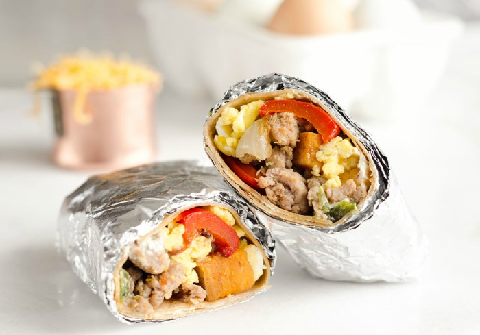 turkey-sausage-breakfast-burritos