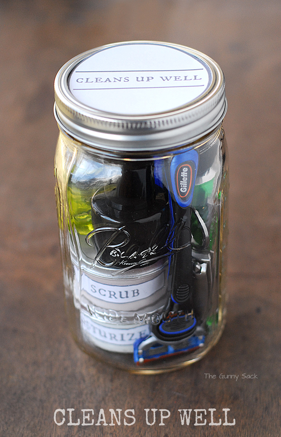 """mason jar filled with cleaning and shaving supplies and a label that says """"cleans up well"""""""