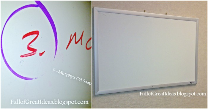 before and after images of dry erase board - cleaning off permanent marker marks.