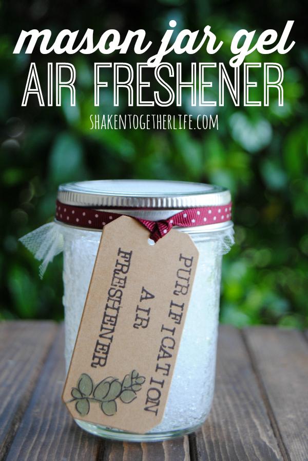 "mason jar with label that says ""purification air freshener"""