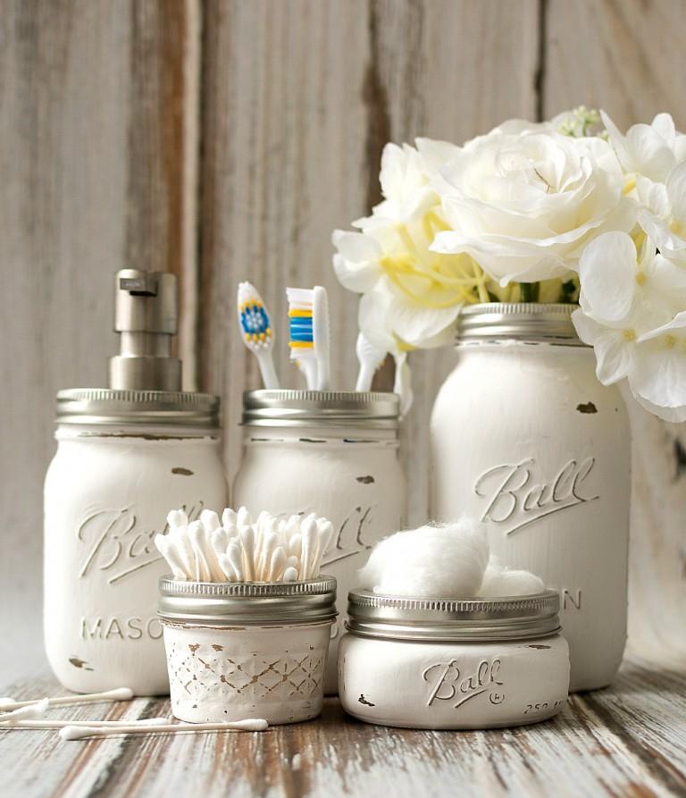 Mason Jar Bathroom Accessories by Mason Jar Crafts