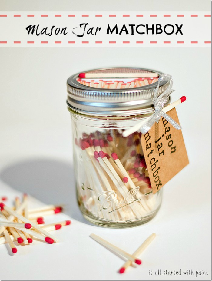"mason jar rilled with matches and a label that says ""Mason jar matchbox"""