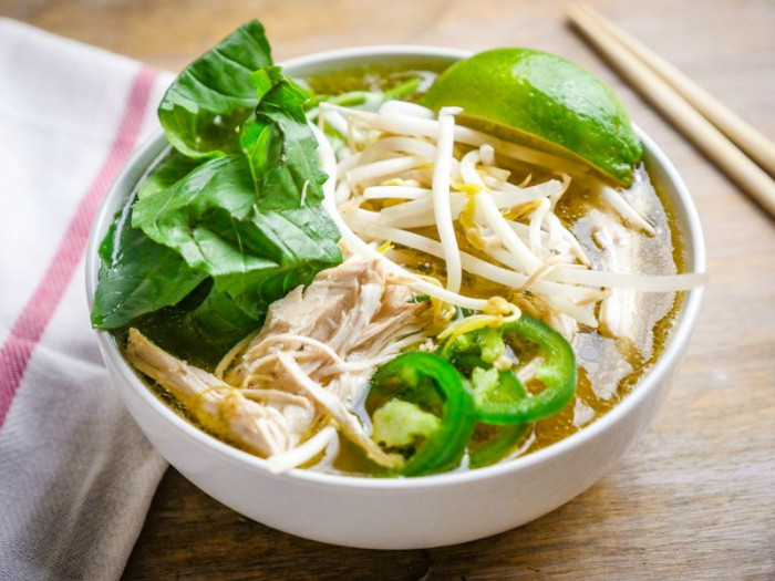 close up of bowl of chicken faux pho