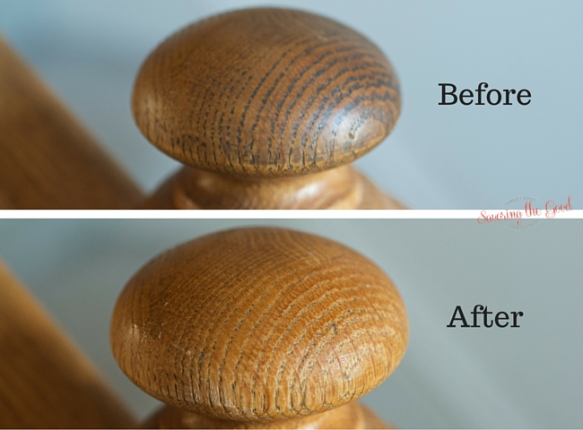 Before and after image of wood banister after cleaning
