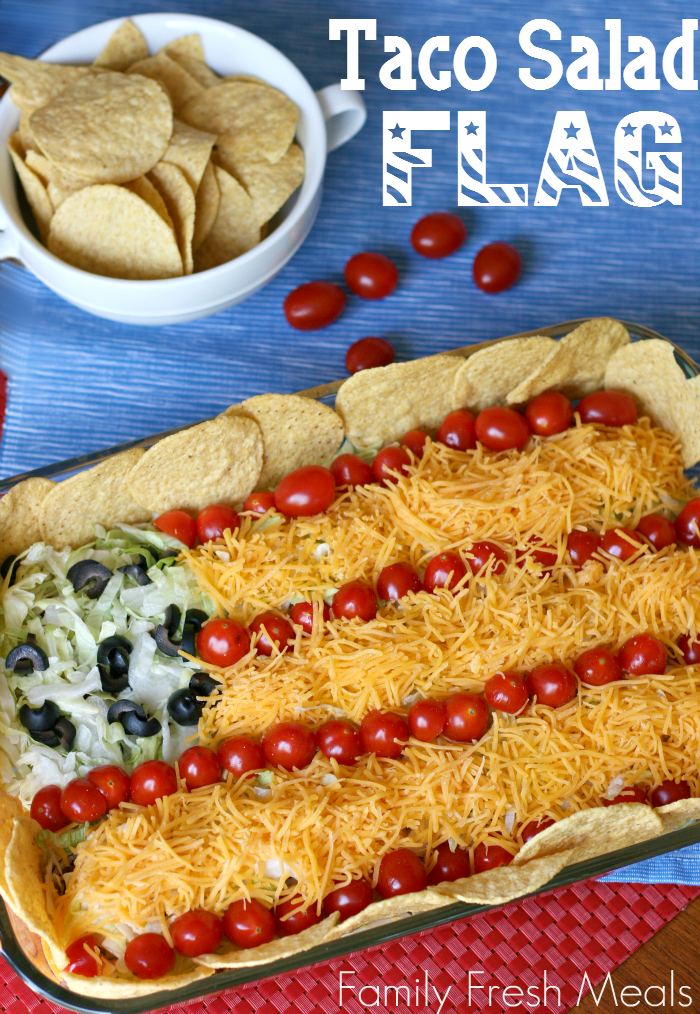 homemade taco salad shaped like the american flag