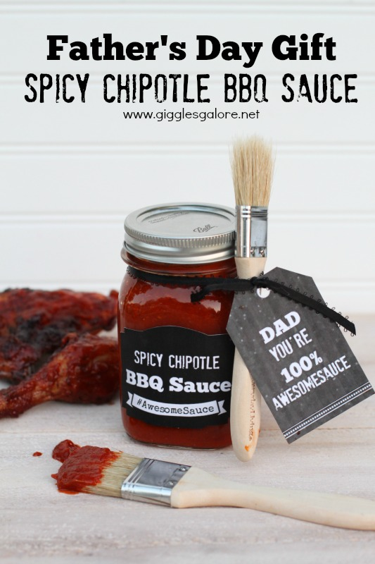 """mason jar filled with spicy chipotle BBQ sauce with a brush and a tag that says """"Dad You're 100% Awesomesauce"""""""