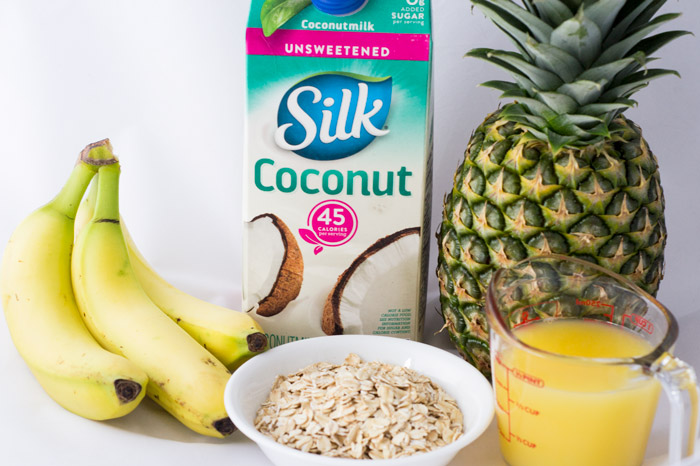 ingredients for pineapple banana breakfast smoothie