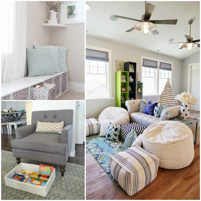 kid friendly family rooms, window seat storage, toy bin for under-chair storage, bean bag seats