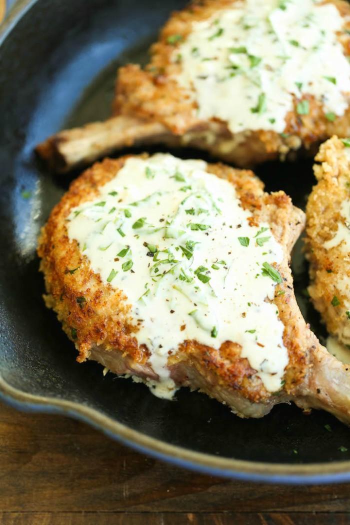 pork chops with lemon basil cream sauce