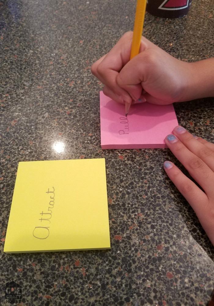 Sticky Note Study Game Step One