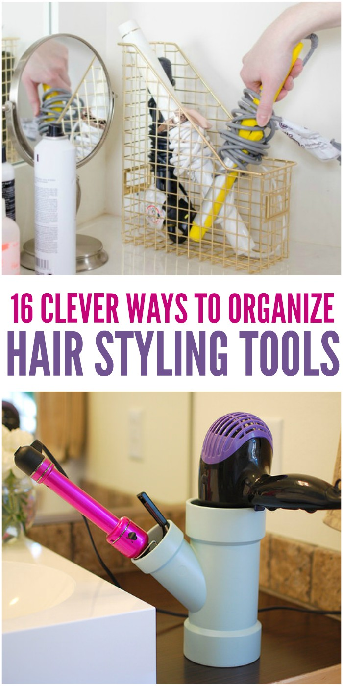 diy hair styling tool organizer 16 clever ways to organize hair styling tools 4208