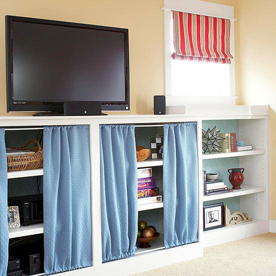 curtains to hide clutter