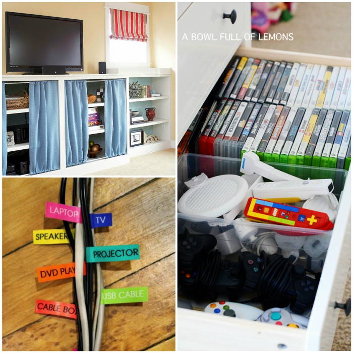 entertainment center organizing tips