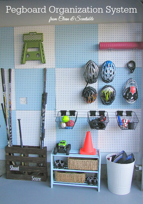 pegboard sports equipment storage