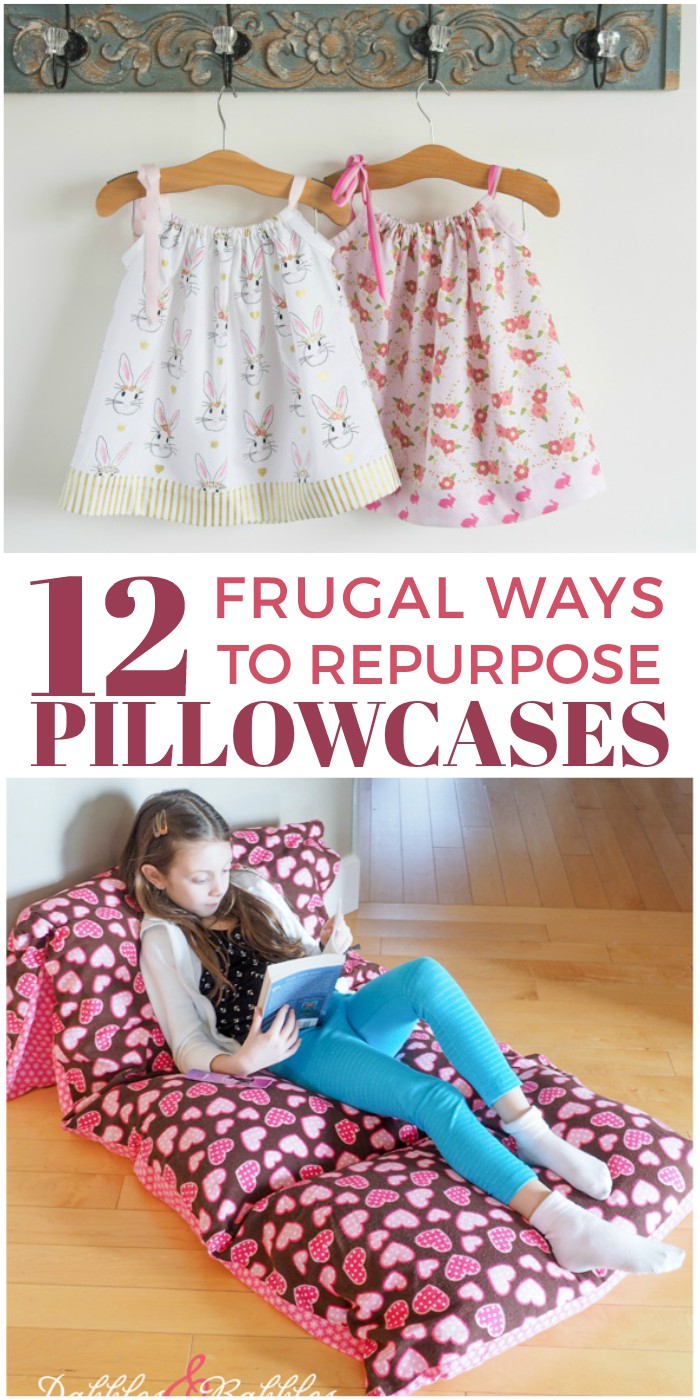 Don't throw out those old bedding sets! Repurpose pillowcases into something useful, like a cute dress, pillow bed or even a tote bag!