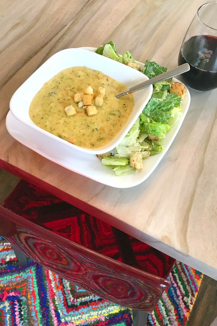 Great Value Broccoli and Cheese Soup with salad
