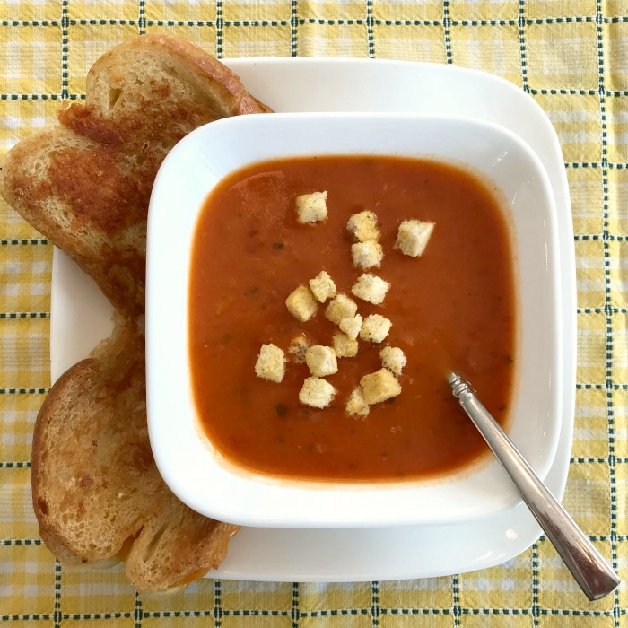Great Value Tomato Basil Soup and Grilled Cheese