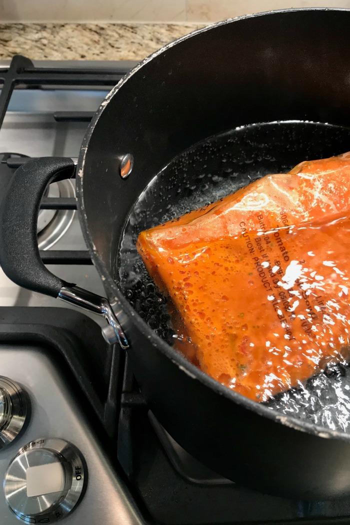 Great Value Tomato Basil Soup in stock pot