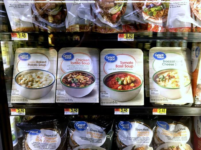 Walmart Great Value Soups in Walmart Freezer