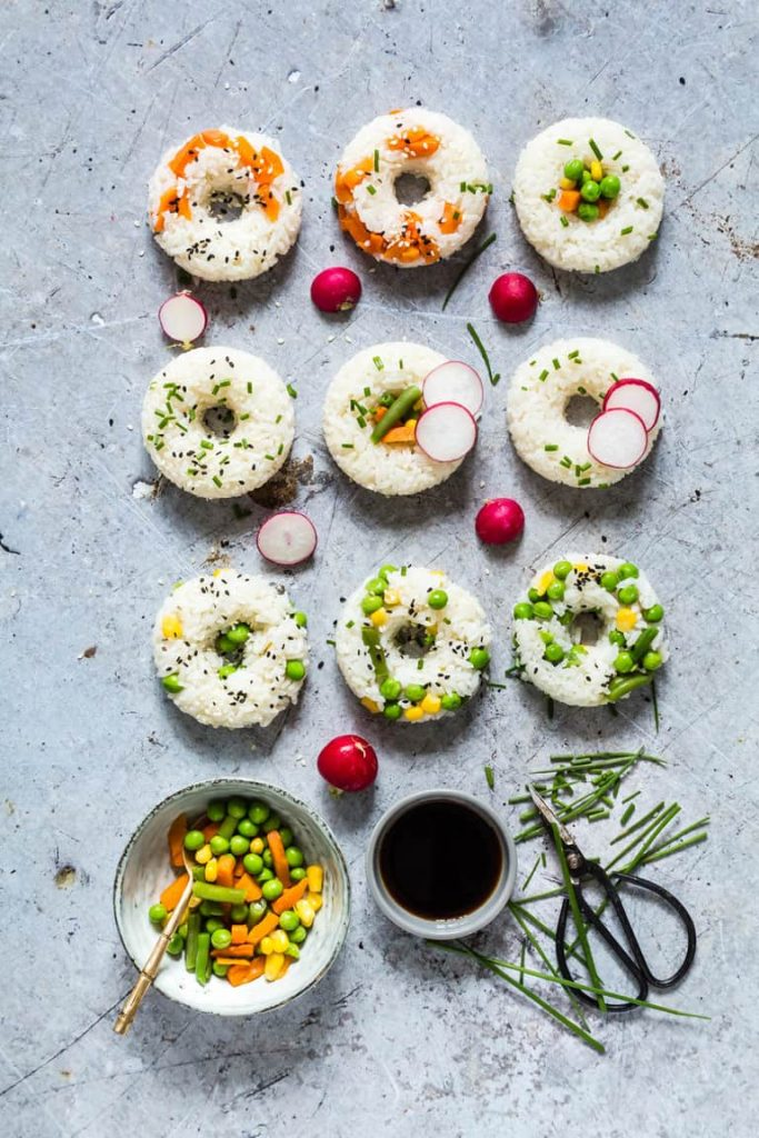 No Sandwich Lunches - Vegetable Sushi Donuts - Recipes From A Pantry