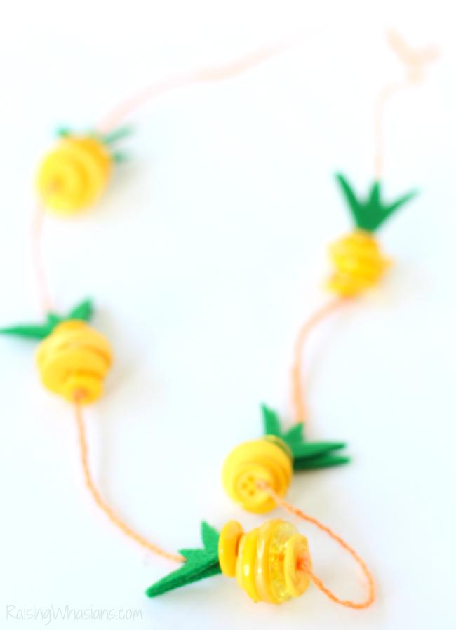 Summer Kid Crafts - Pineapple Necklace- Raising Whasians