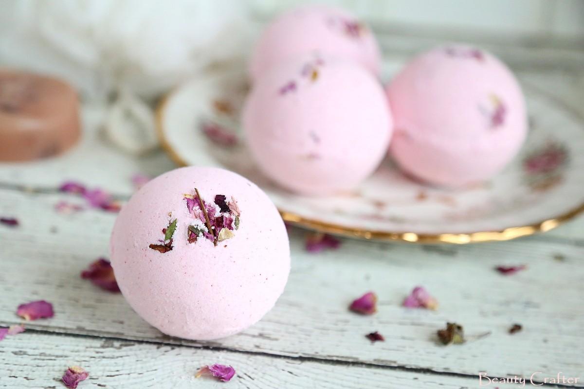 DIY Fizzy Bath Bombs - Rose Bath Bomb- Beauty Crafter