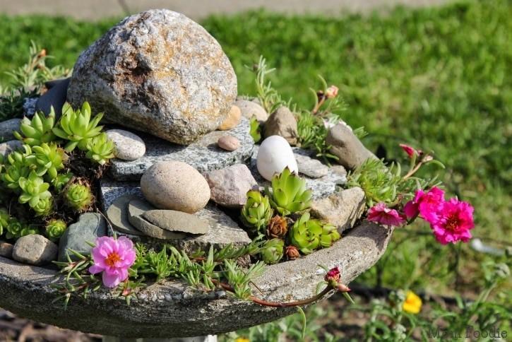 Backyard Ideas- Birdbath Rock Garden- Mom Foodie