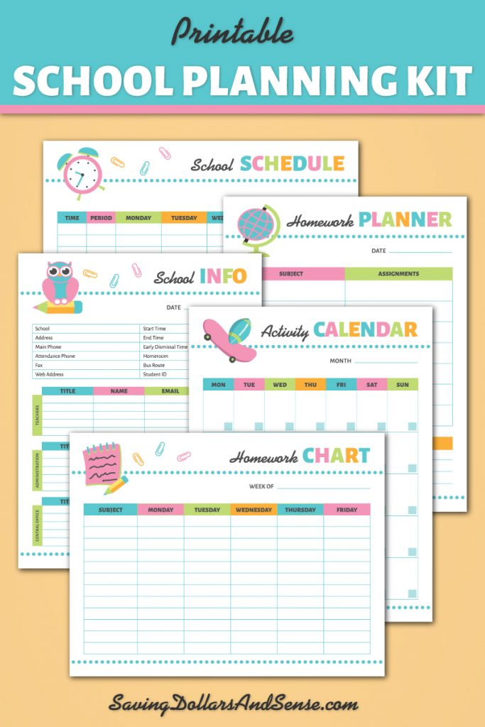 School Planning Kit for back to school organization