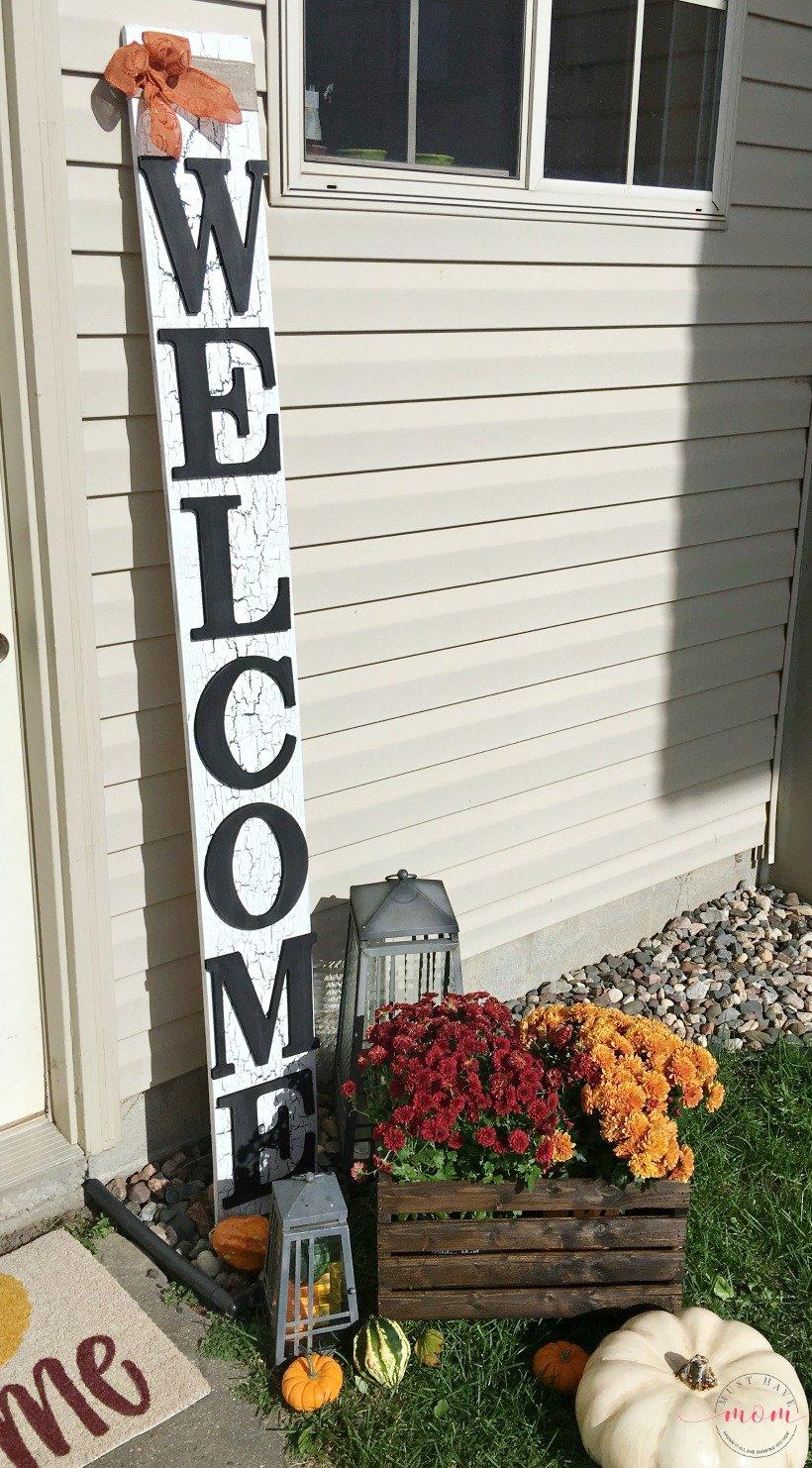 Fall Farmhouse Front Porch Decor & Welcome Sign