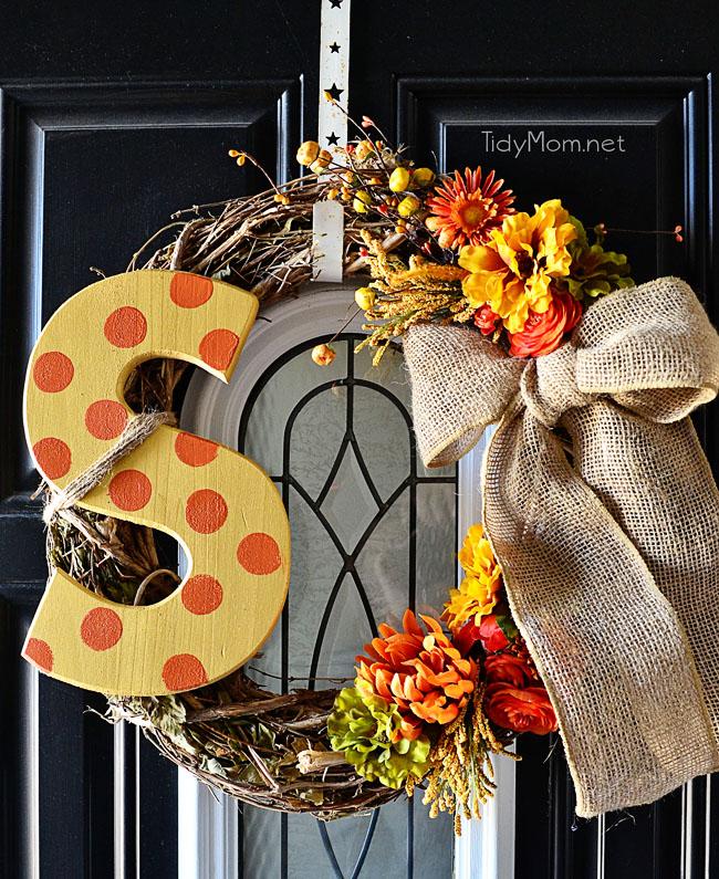 Monogramed Fall Wreath