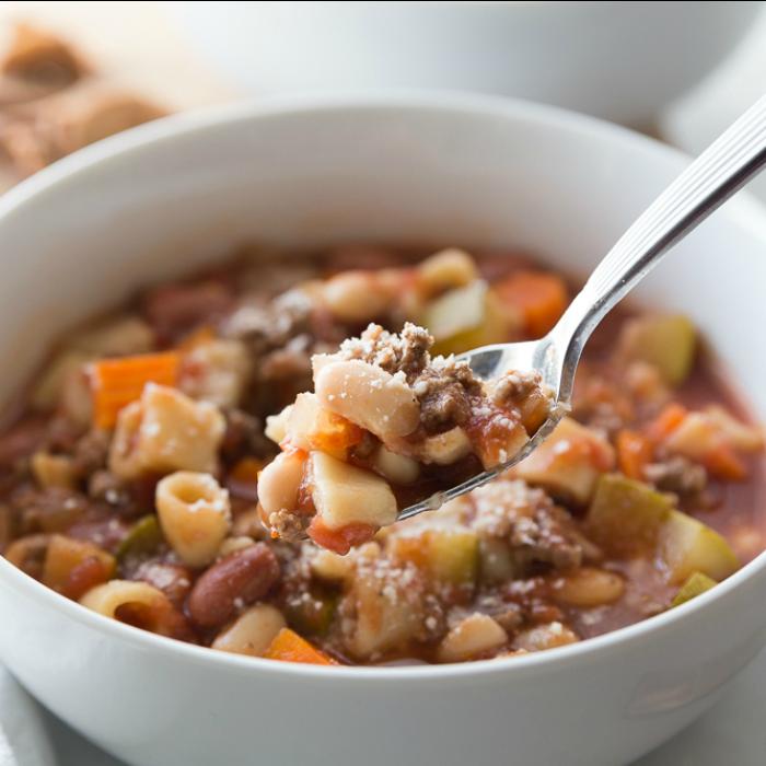 Bowl of Crockpot Minestrone Soup