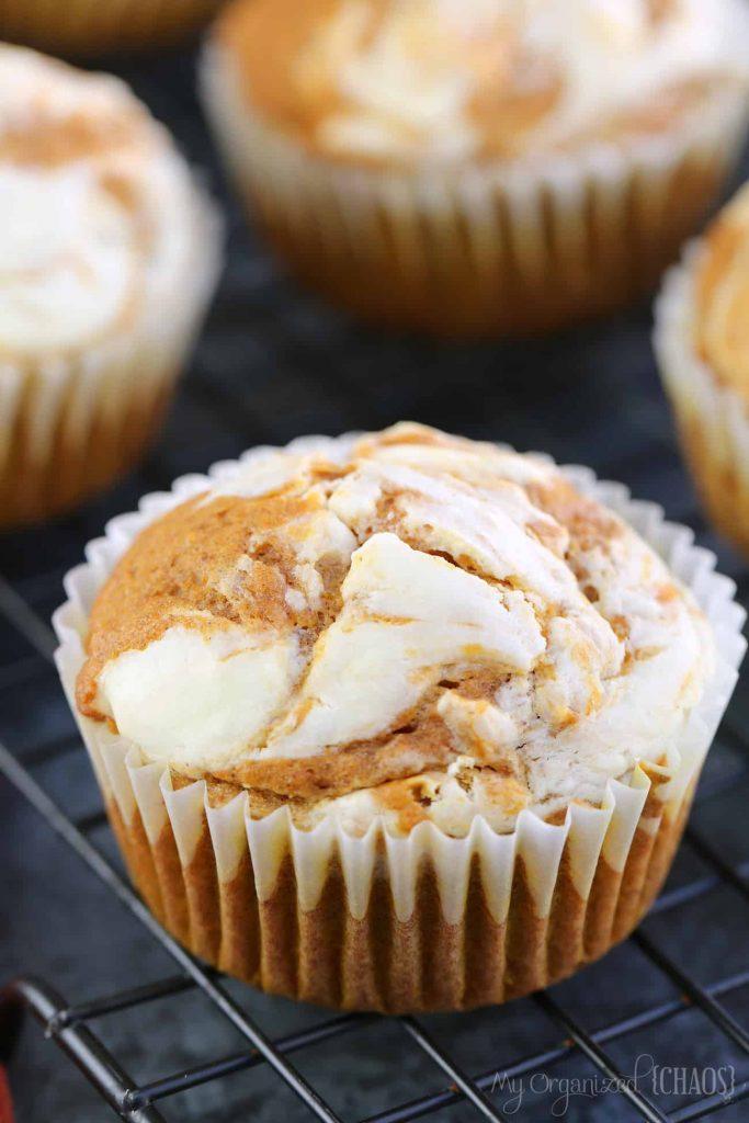 Pumpkin Spice Cream Cheese Muffins closeup