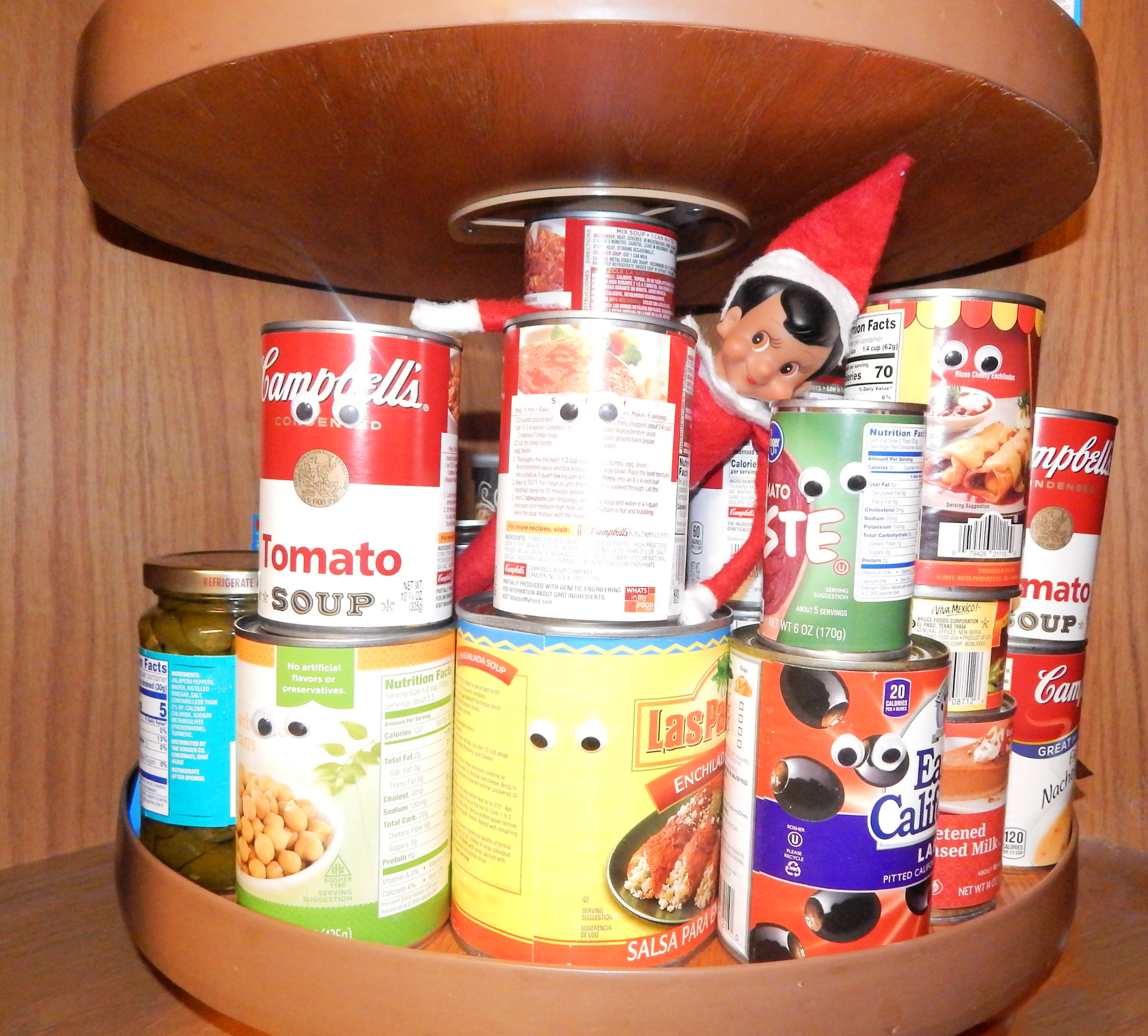 canned goods on lazy susan