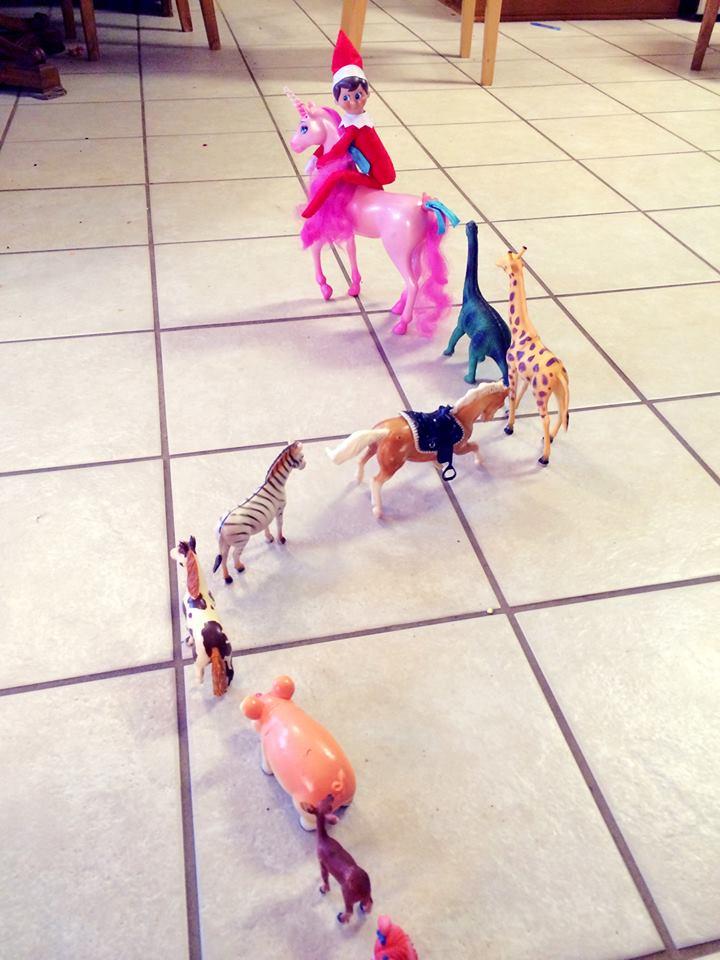 toys on kitchen floor