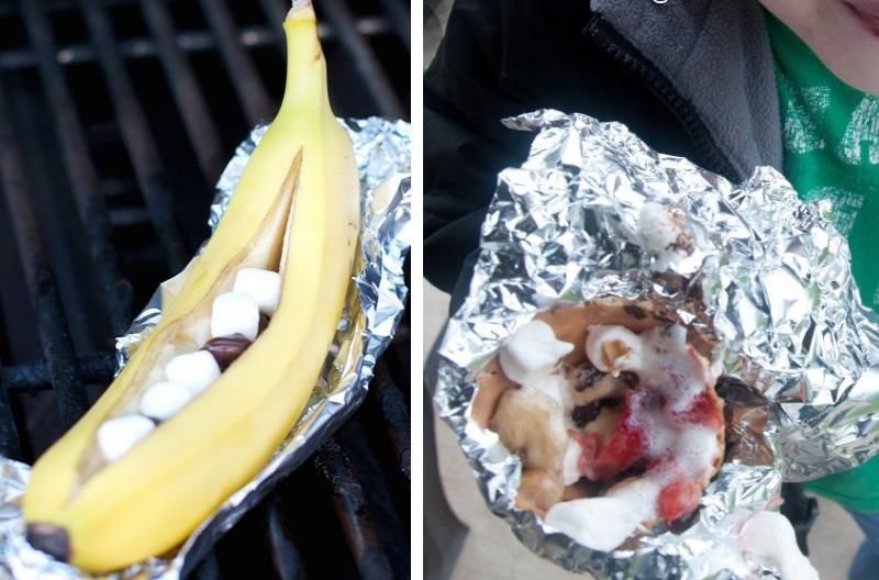 two campfire desserts - banana with marshmallows and chocolate, and s'mores ice cream cone