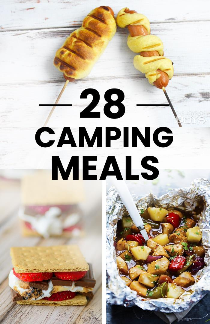 collage of camping food ideas - hot dogs, s'mores, and foil packet meal
