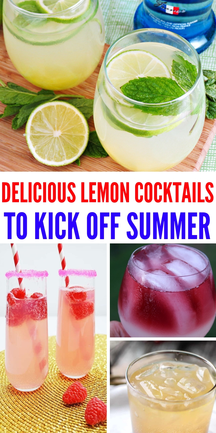 These lemon cocktails are sippers and are here just in time for summer fun. Every one is different and packed full of flavor! #onecrazyhouse #lemoncocktails #summerdrinks #cocktails