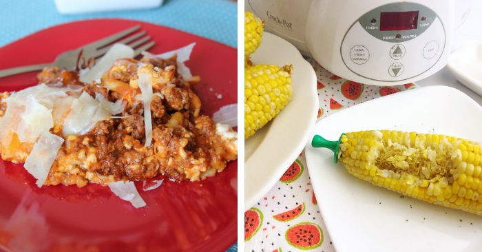 LASAGNA AND CORN on the cob in the crockpot