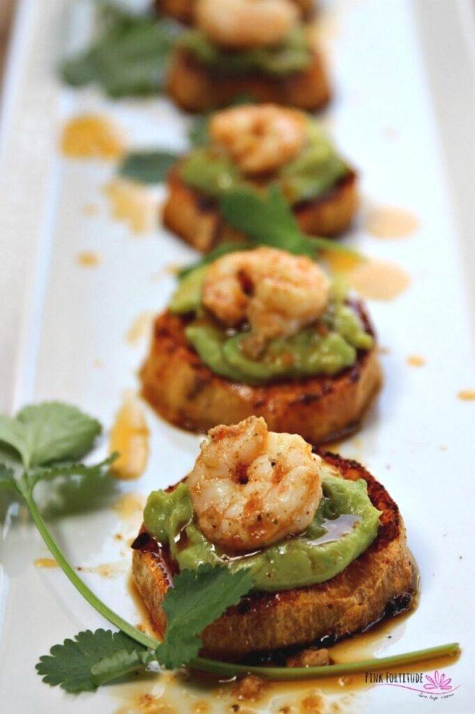 Enjoy Mexican appetizers like these shrimp avocado bites