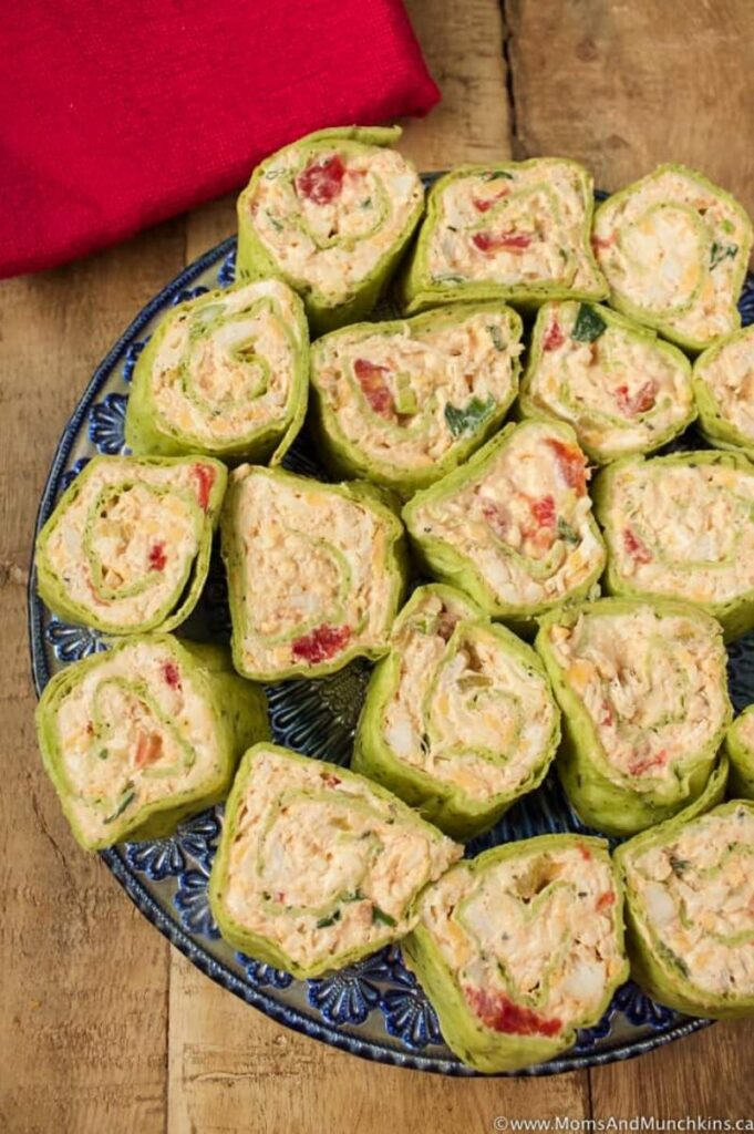 Enjoy Mexican appetizers like these Mexican pinwheels