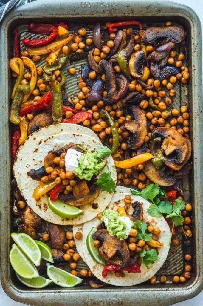 Enjoy Mexican appetizers like these chickpea fajitas