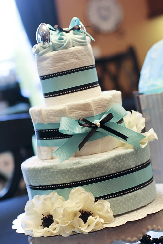 large diaper cake with tiffany's blue colors