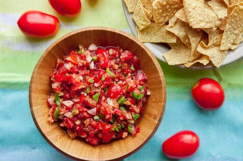 Enjoy Mexican appetizers like this tomato salsa