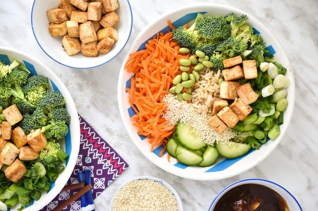Vegan teriyaki bowl with fresh veggies and tofu.