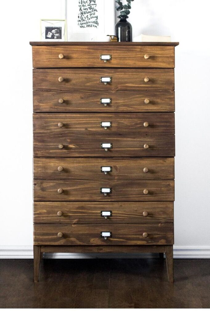 stained wood upright dresser Ikea hack