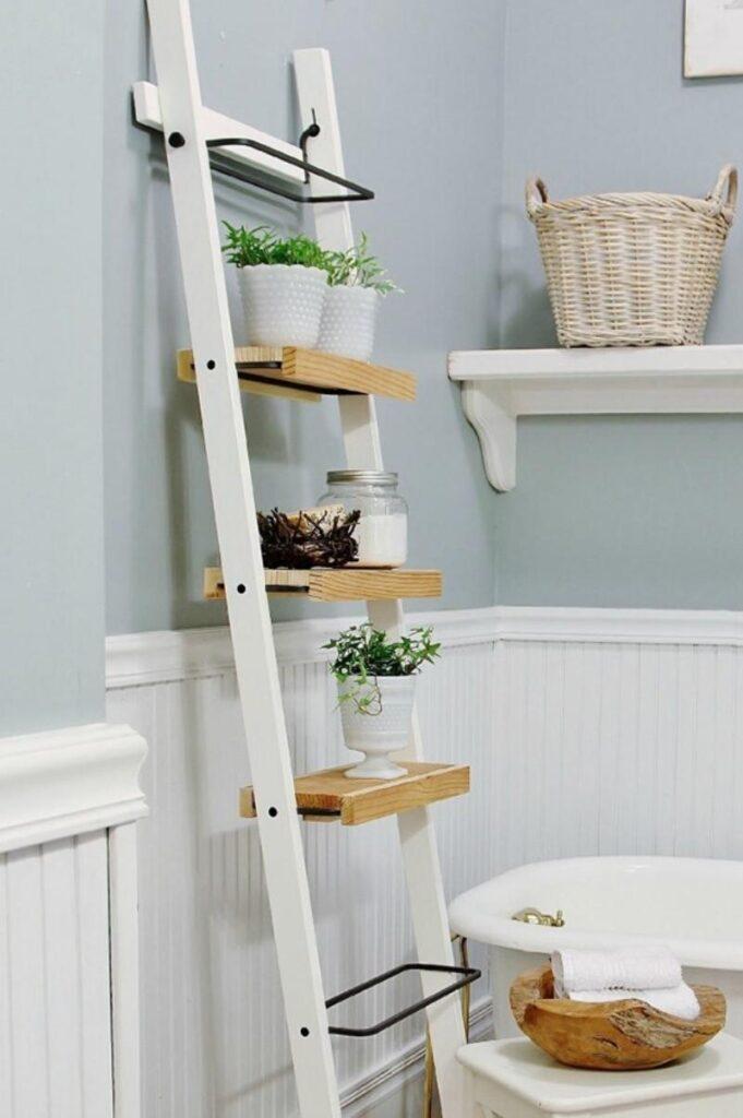 White ladder-style bathroom shelves