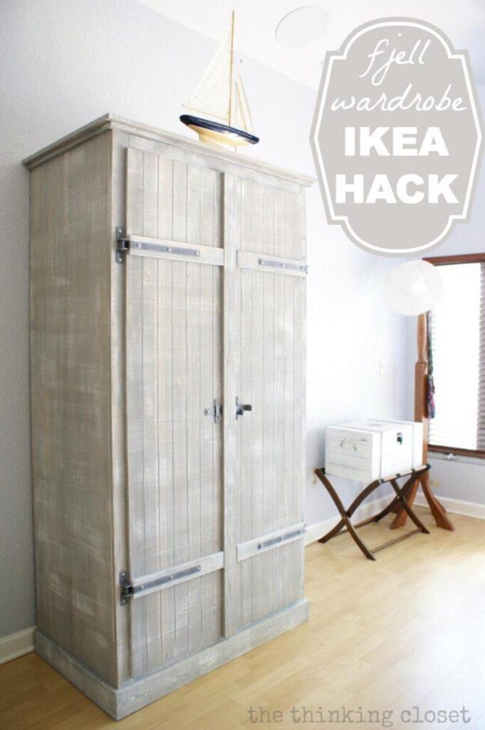 whitewashed wardrobe ikea hack