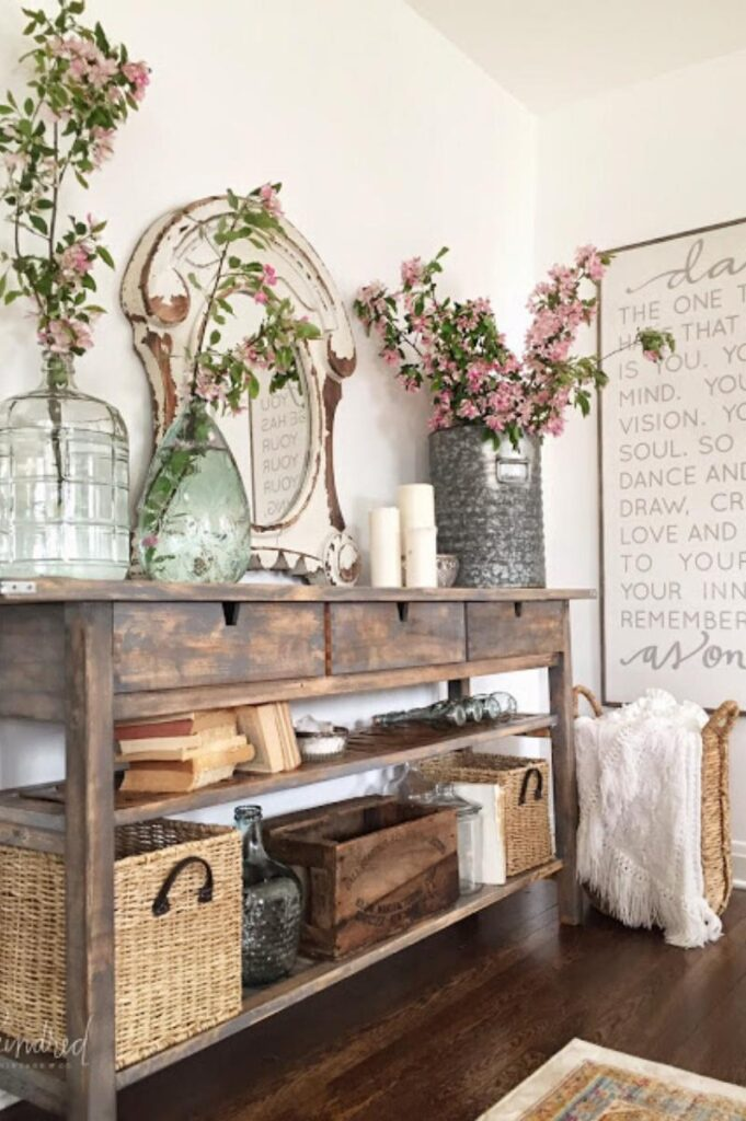 Rustic stained wood sidebar table
